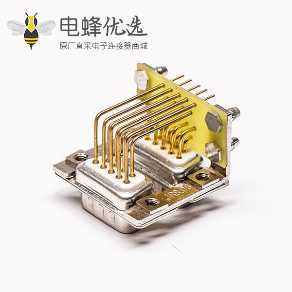 D-SUB双胞胎9公对9公弯式插板穿孔19.05铆锁接PCB板