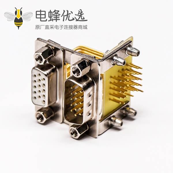 D-SUB双胞胎焊接三排15公对三排15母19.05铆锁白胶接PCB板