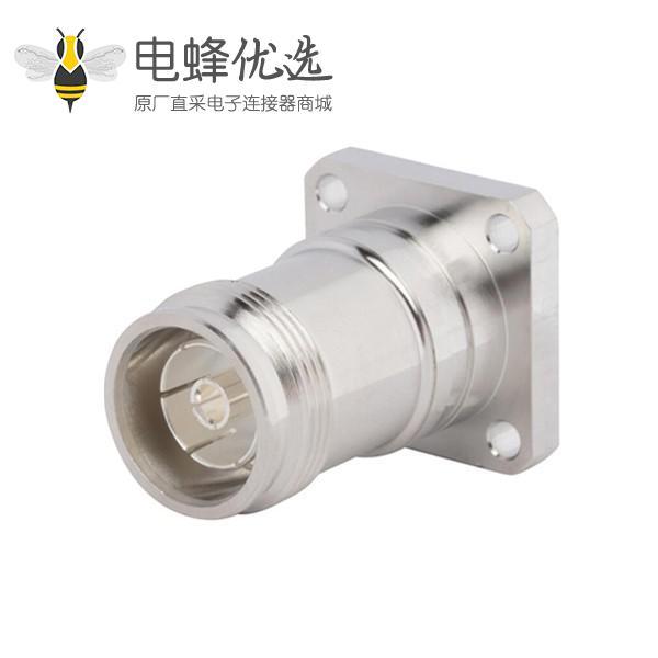 射频连接器4.3-10直式四孔法兰母座接焊料杯