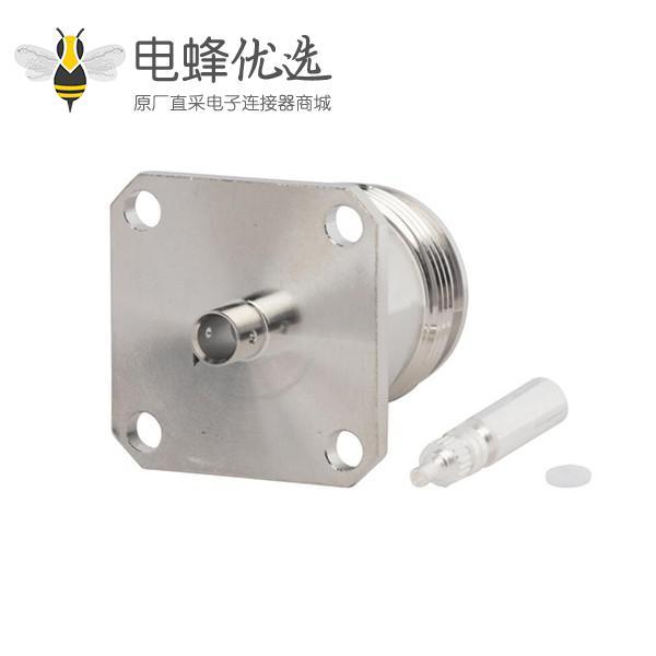 """4.3-10射频接头四孔法兰半硬性低PIM设计直式母头接.141""""线"""
