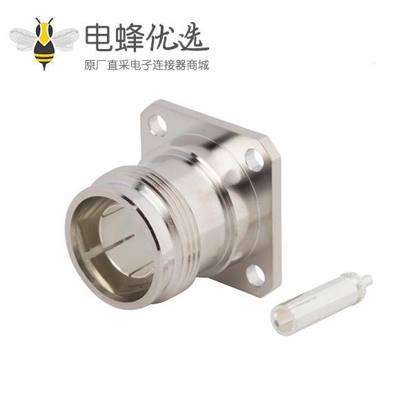 """4.3-10连接器四孔法兰直式母头半刚性低IPM接.085""""线"""
