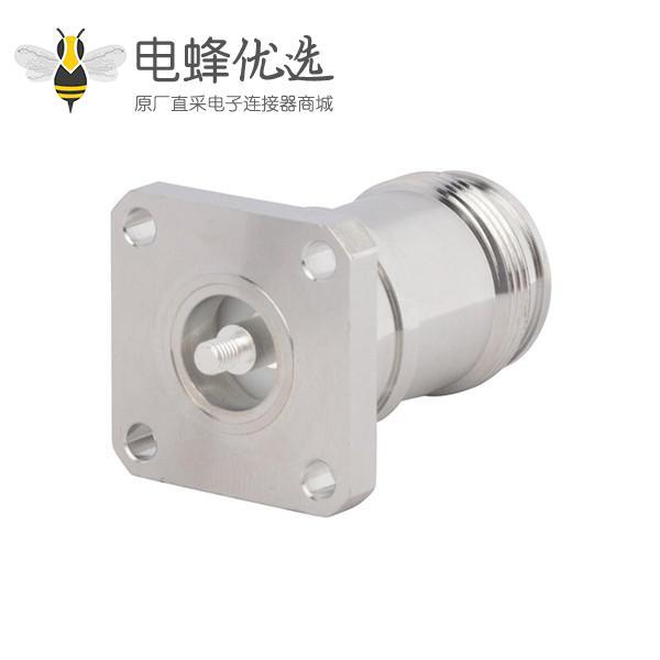 4.3 10射频连接器直式母头四孔法兰M3螺纹低PIM设计