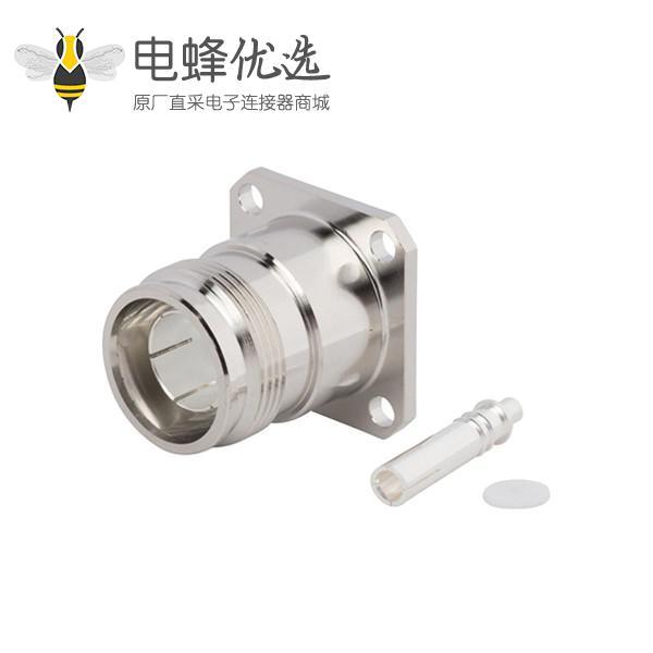 """同轴连接器设计4.3 10直式母头半刚性四孔法兰接.250""""线"""