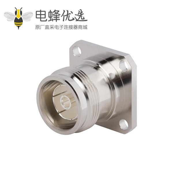 射频4.3-10接头直式母头4孔法兰焊料杯低PIM