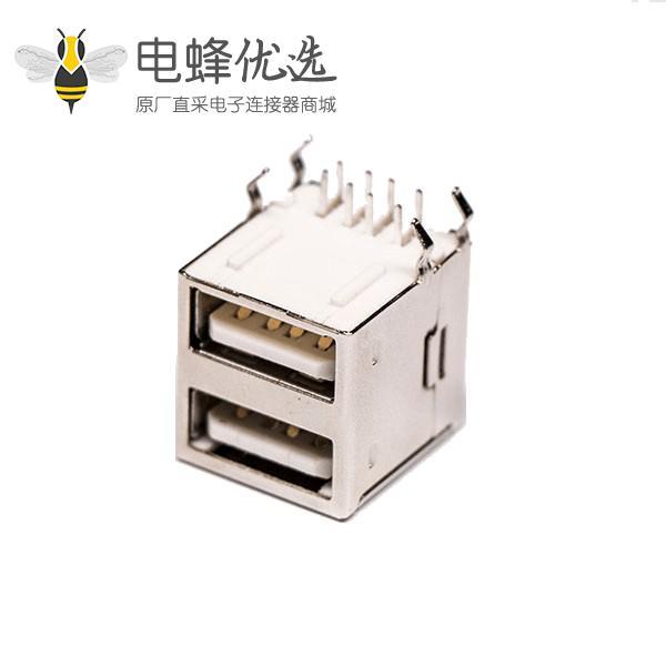 2.0双层usb母座type a弯式插孔接PCB板