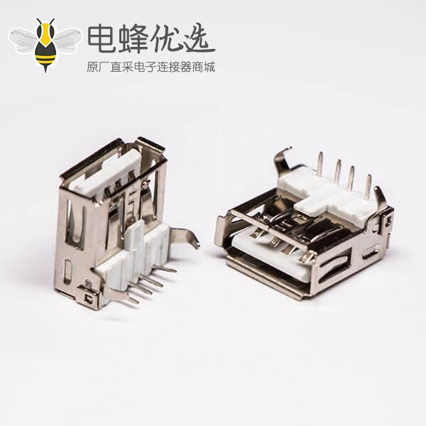 直角弯头usb2.0母头type a插孔白色胶芯