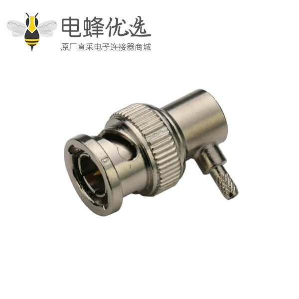 BNC公头压接弯式50欧射频同轴线缆连接器