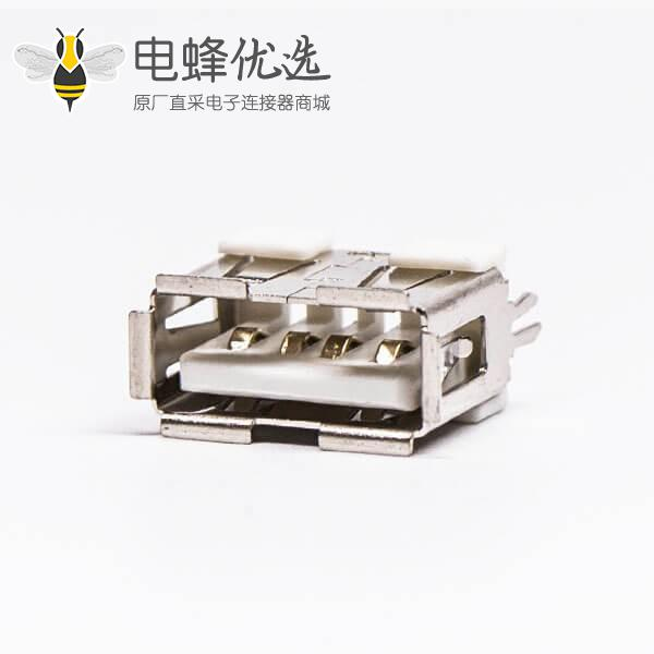 usb type a封装母座直式白色胶芯