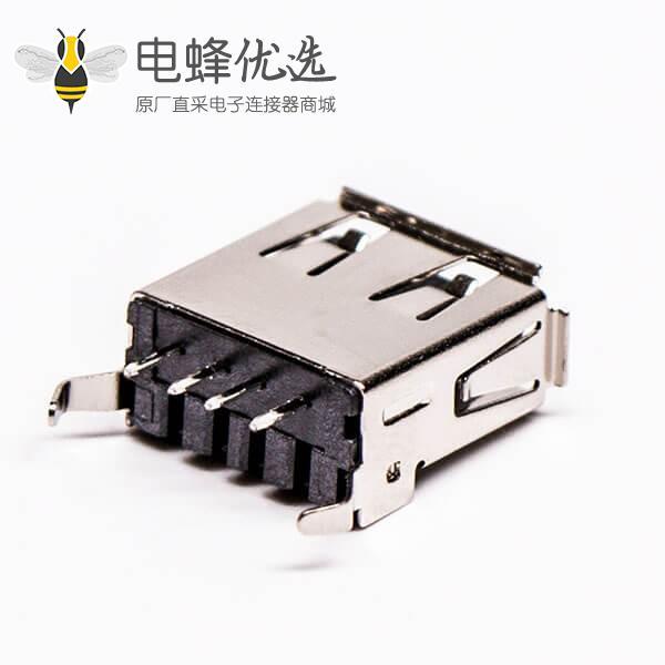 usb type a 母座直式黑胶DIP半包塑壳