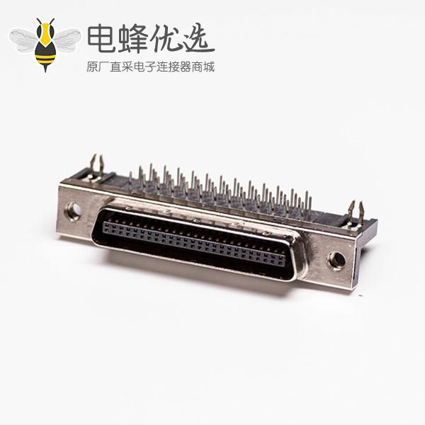 50针scsi接口90度弯角母头带鱼叉脚插孔接PCB板
