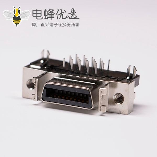 scsi20针接头弯式母头铆锁插孔接PCB板