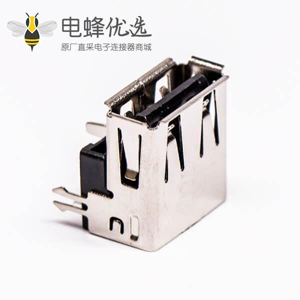 usb type a 插座母头弯式三脚定位鱼叉脚插板