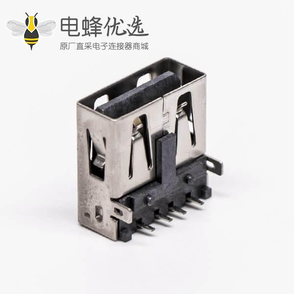 type-a usb母座弯式两脚插板带定位柱接板