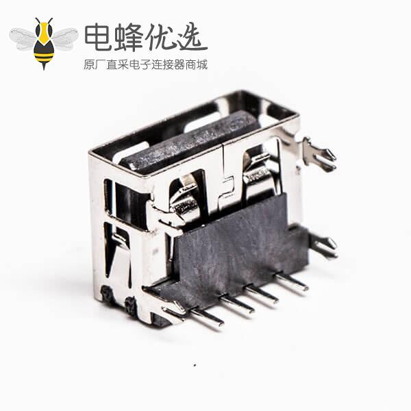 2.0usb弯母座封装黑色胶芯带鱼叉脚插板