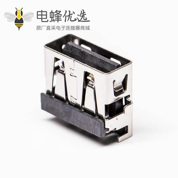 usb母座沉板type a黑色胶芯弯式