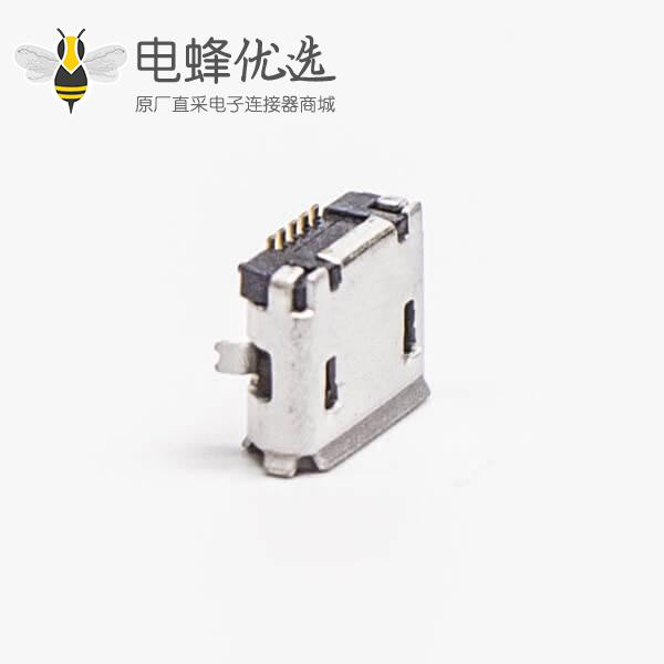 micro usb接口母座5pinB型插板直式SMT脚间距5.65