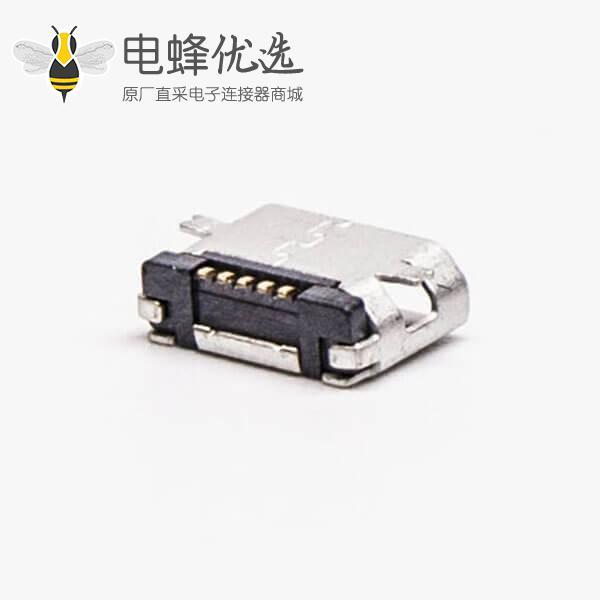 micro usb 接口B型母头SMT全贴板5针平口连接器