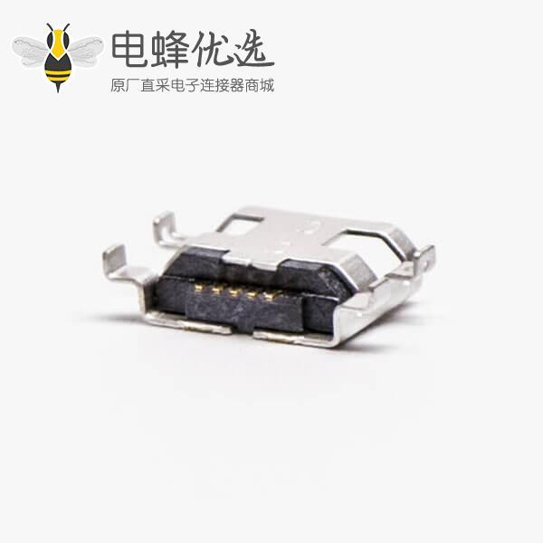 micro接口 usbB型母座沉板5pin四脚间距9.65