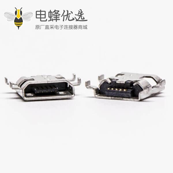 micro接口 usb母座5针SMT沉板H1.60 B型四脚DIP7.15