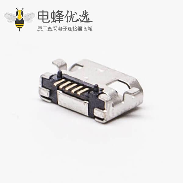 micro usb手机充电接口SMT全贴5针加宽型连接器