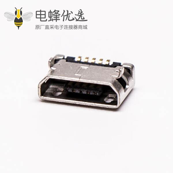 micro usb 5pin接口B型SMT母座DIP 6.4 平口