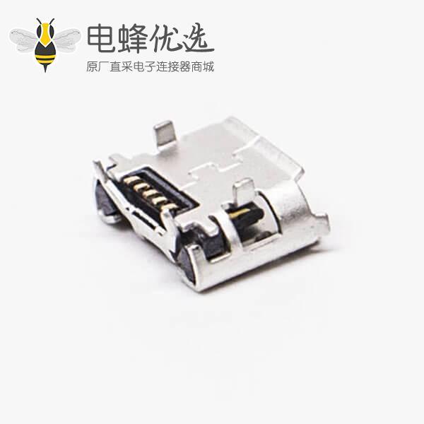 micro usb b接口5p SMT B型牛角型直式连接器5.65-4.85