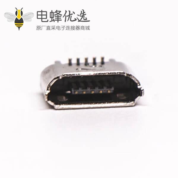 micro B usb接口母座B型5针180°SMT立贴式连接器