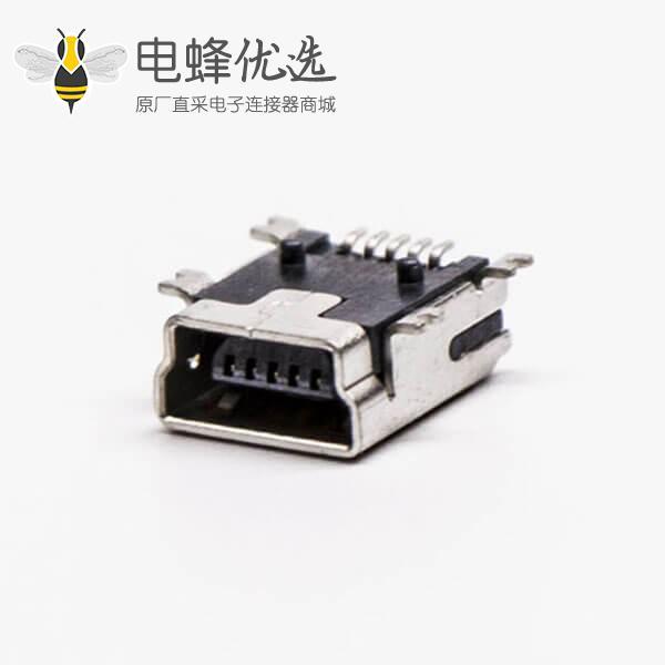 micro usb b型mini母头B型5针90°SMT贴板式接头