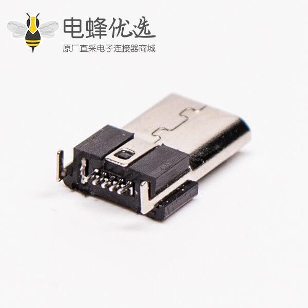 micro usb 5s b型牛角型弯式公座DIP两脚连接器