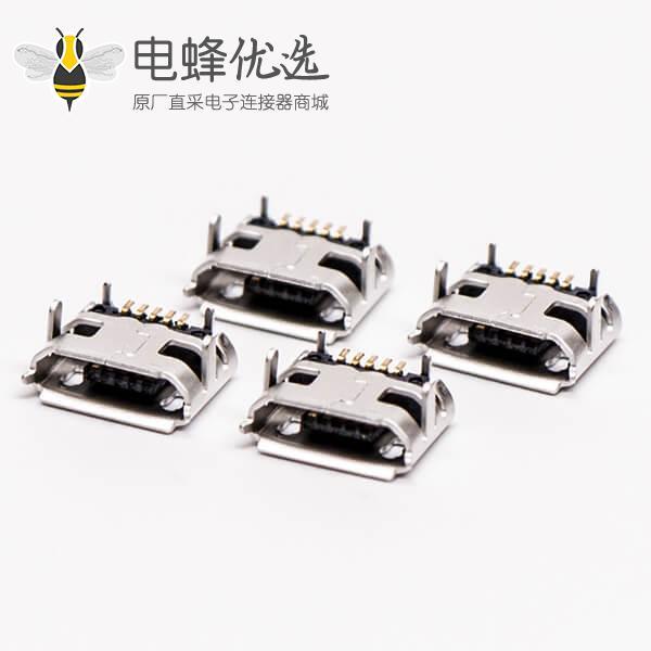 micro usb 5p b型SMT B型母座牛角型连接器 7.20-5.50