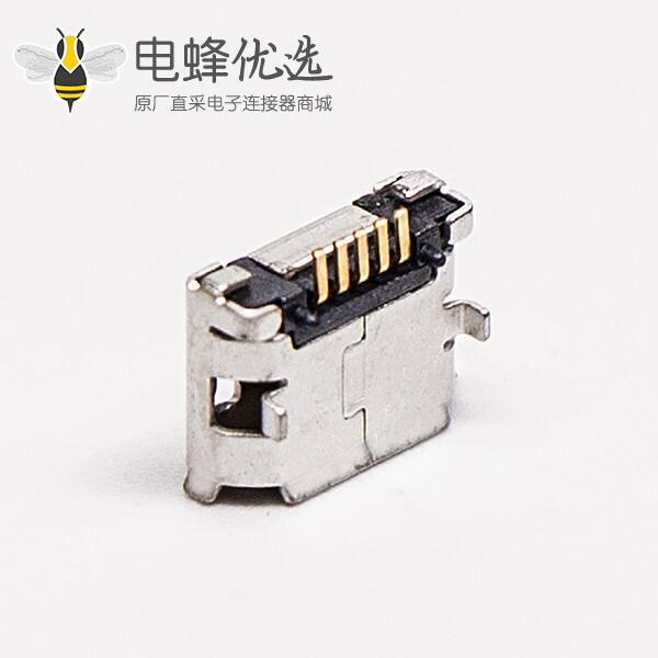micro usb b型封装5p母座SMT直式DIP 6.4带焊盘带定位子