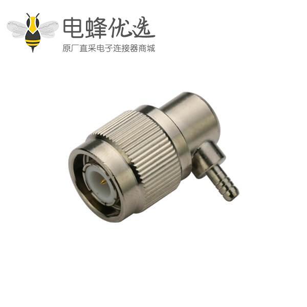接线RG316弯式压接公头 同轴线缆tnc连接器