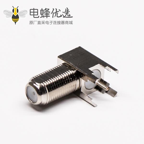 pcb板端 连接器f射频同轴弯式穿墙式母头