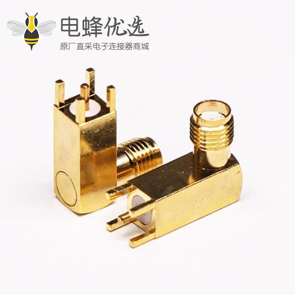 sma连接器PCB板端弯式镀金母头