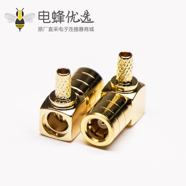 优质射频同轴连接器公头弯式压接SMB电缆RG174