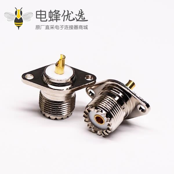 菱型连接器uhf母头焊接直式法兰安装UHF-KF