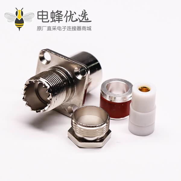 uhf法兰连接器母头直式螺母锁紧UHF-SL16-KF9