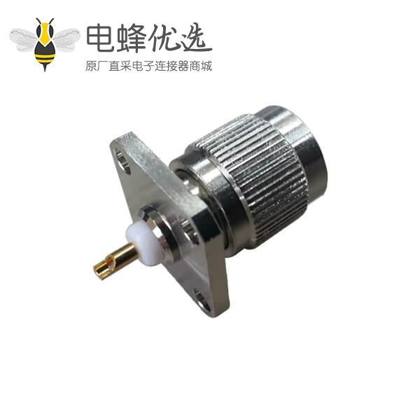 焊接直式公头tnc射频同轴连接器4孔方形法兰盘面板安装