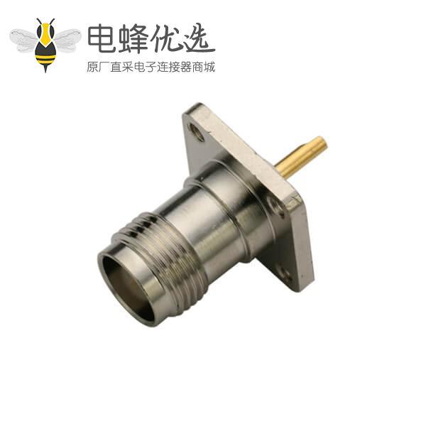 法兰式4孔方形面板安装tnc直式母头焊接连接器