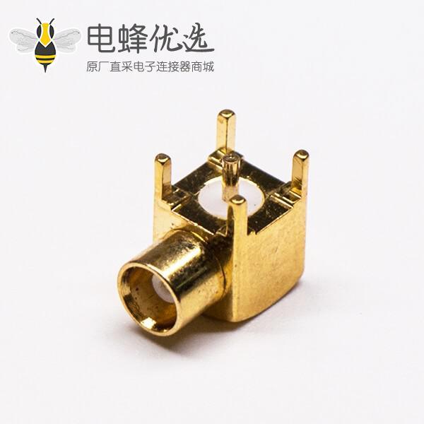 MCX母头弯式射频同轴连接器插PCB板