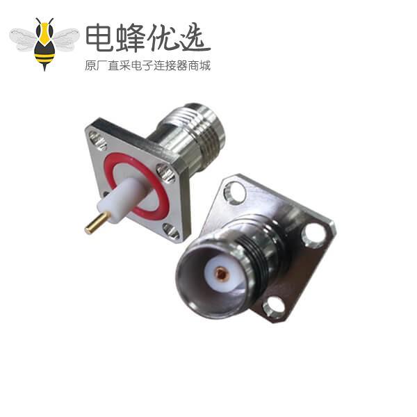 4孔方形法兰座子tnc直式母头射频同轴连接器