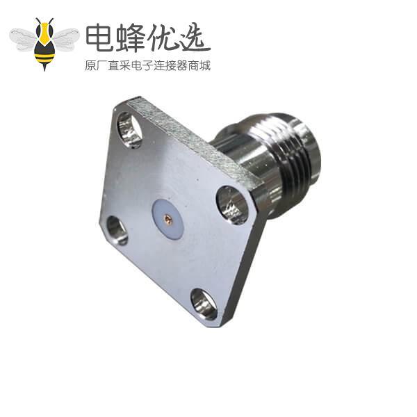 视频接头母头tnc4孔方形法兰射频同轴连接器面板