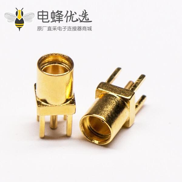 MMCX接口直式母头镀金穿孔接PCB板