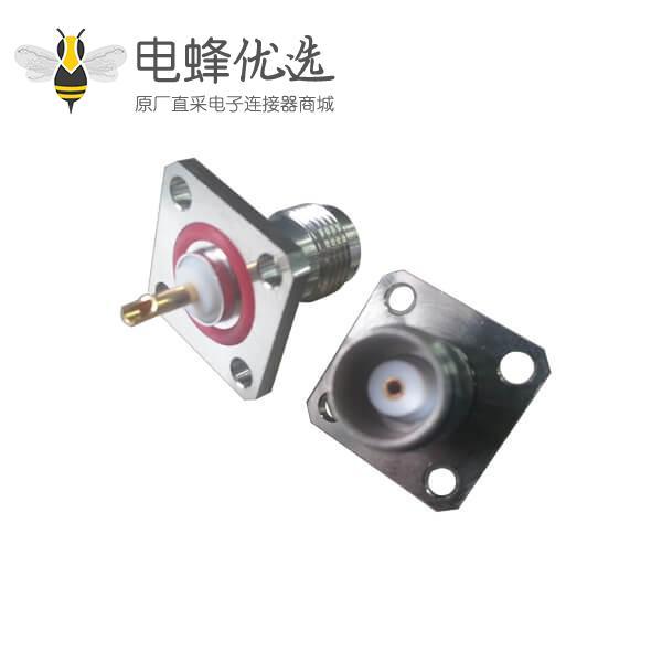 电视视频接头4孔方形法兰直式焊接母头tnc连接器面板安装