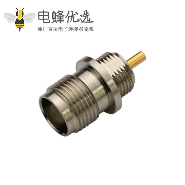同轴视频直式穿墙焊接tnc型射频连接器母头面板安装