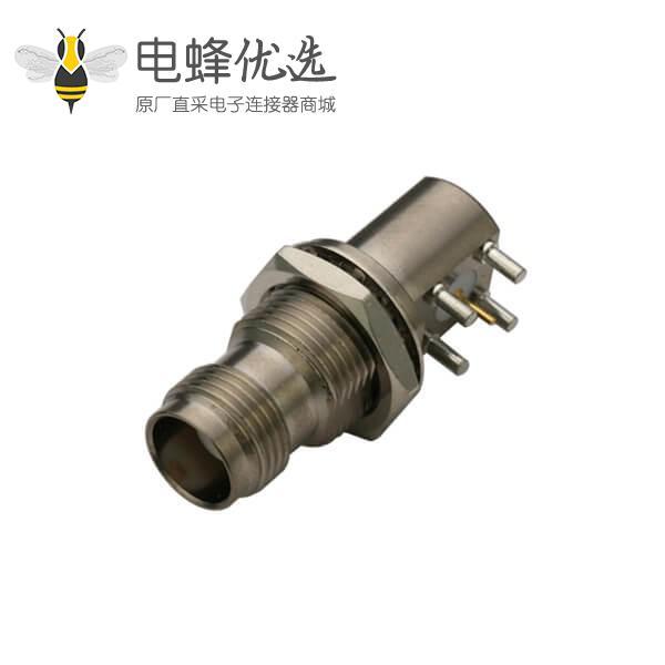 pcb射频连接器板端弯式穿墙母头tnc连接器