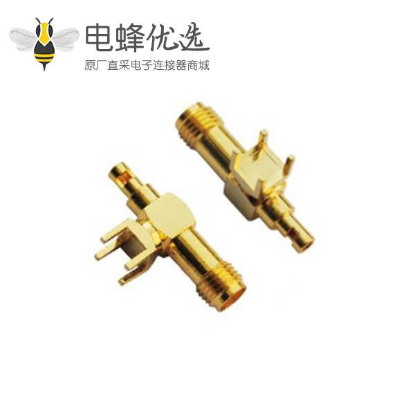 射频连接器 sma同轴弯式母头接pcb板