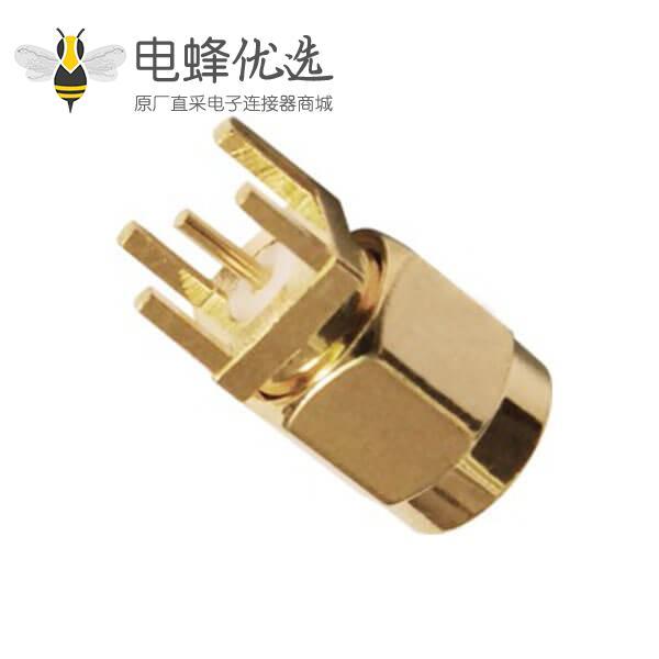 射频同轴连接器sma镀金公头PCB直插板