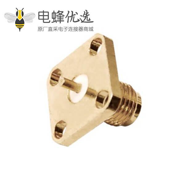 同轴连接器sma法兰盘4孔面板安装直式母头