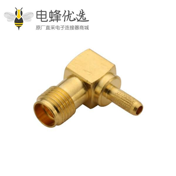 sma 连接器母头弯式压接同轴线缆 RG400